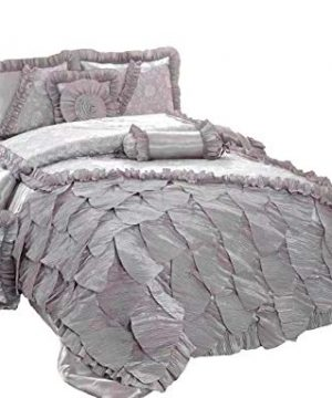 Tache Silver Rose Petals Faux Silk Satin Lace Mesh Pleated Floral Ruffles Elegant Luxury Romantic Victorian Comforter Set Queen 0 300x360