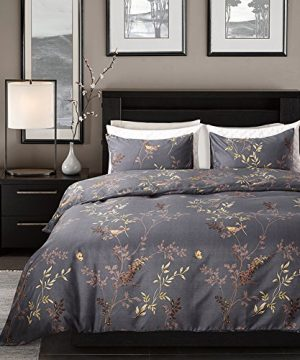 Tebery Ultra Soft Microfiber Duvet Cover Set With Zipper Closure Dark Grey And Gold Tree Pattern King 0 0 300x360