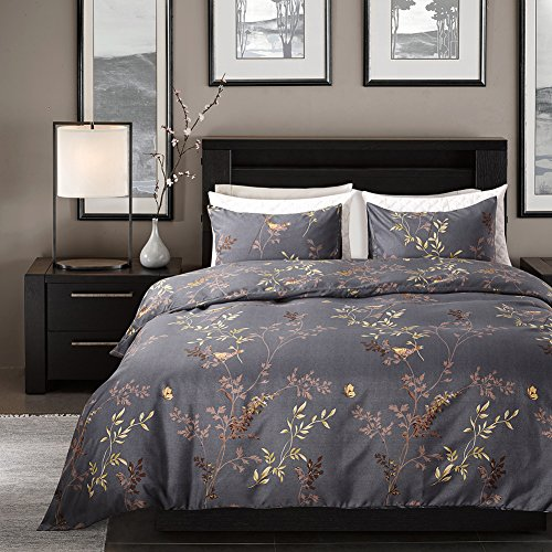 Tebery Ultra Soft Microfiber Duvet Cover Set With Zipper Closure Dark Grey And Gold Tree Pattern King 0 0