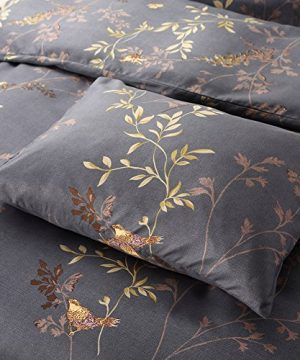 Tebery Ultra Soft Microfiber Duvet Cover Set With Zipper Closure Dark Grey And Gold Tree Pattern King 0 1 300x360