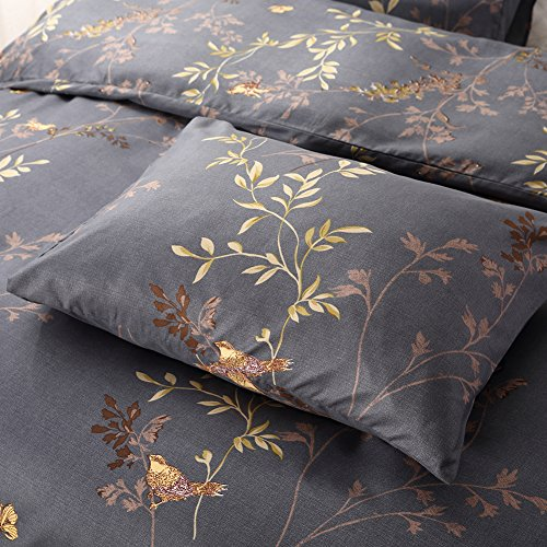 Tebery Ultra Soft Microfiber Duvet Cover Set With Zipper Closure Dark Grey And Gold Tree Pattern King 0 1
