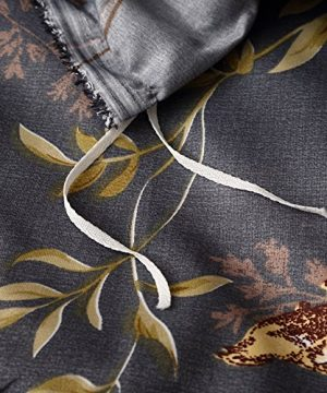 Tebery Ultra Soft Microfiber Duvet Cover Set With Zipper Closure Dark Grey And Gold Tree Pattern King 0 3 300x360