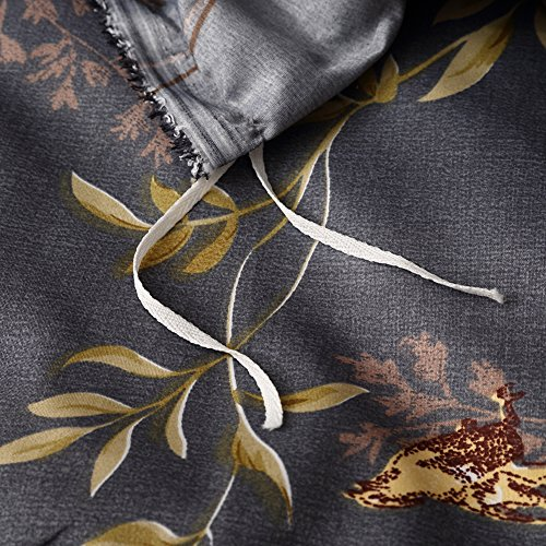 Tebery Ultra Soft Microfiber Duvet Cover Set With Zipper Closure Dark Grey And Gold Tree Pattern King 0 3