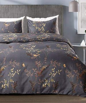 Tebery Ultra Soft Microfiber Duvet Cover Set With Zipper Closure Dark Grey And Gold Tree Pattern King 0 300x360