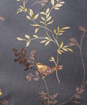 Tebery Ultra Soft Microfiber Duvet Cover Set With Zipper Closure Dark Grey And Gold Tree Pattern King 0 4 300x360