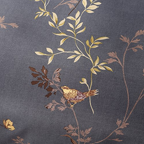 Tebery Ultra Soft Microfiber Duvet Cover Set With Zipper Closure Dark Grey And Gold Tree Pattern King 0 4