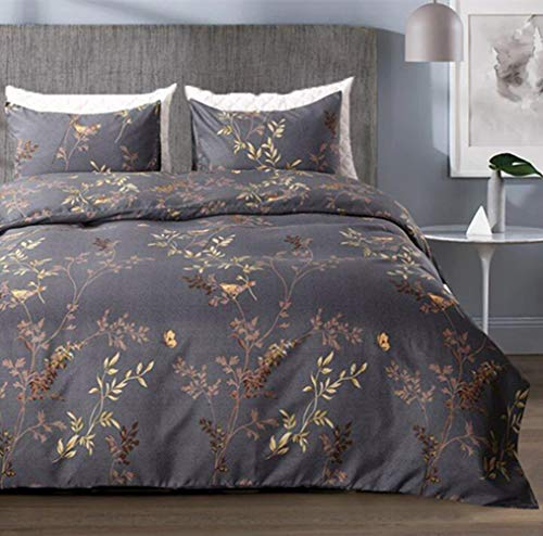 Tebery Ultra Soft Microfiber Duvet Cover Set With Zipper Closure Dark Grey And Gold Tree Pattern King 0