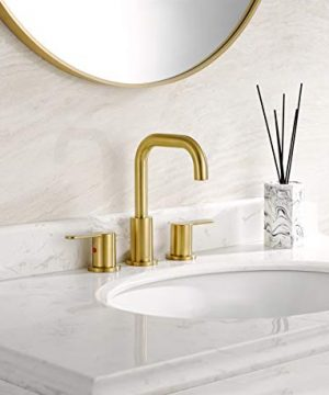 TimeArrow TAF830E PB 2 Handle 8 Inch Widespread Bathroom Sink Faucet With Pop Up Drain Brushed Gold 0 0 300x360