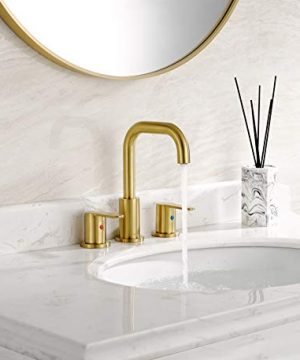 TimeArrow TAF830E PB 2 Handle 8 Inch Widespread Bathroom Sink Faucet With Pop Up Drain Brushed Gold 0 1 300x360
