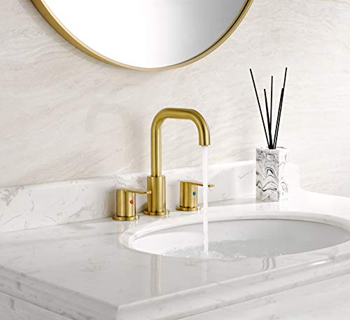 TimeArrow TAF830E PB 2 Handle 8 Inch Widespread Bathroom Sink Faucet With Pop Up Drain Brushed Gold 0 1
