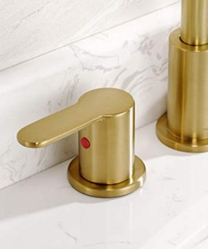 TimeArrow TAF830E PB 2 Handle 8 Inch Widespread Bathroom Sink Faucet With Pop Up Drain Brushed Gold 0 2 300x360