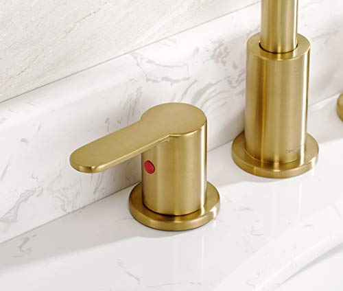 TimeArrow TAF830E PB 2 Handle 8 Inch Widespread Bathroom Sink Faucet With Pop Up Drain Brushed Gold 0 2