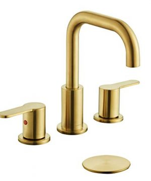 TimeArrow TAF830E PB 2 Handle 8 Inch Widespread Bathroom Sink Faucet With Pop Up Drain Brushed Gold 0 300x360