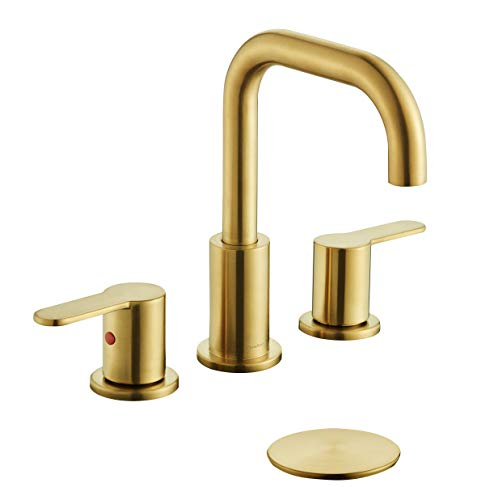 TimeArrow TAF830E PB 2 Handle 8 Inch Widespread Bathroom Sink Faucet With Pop Up Drain Brushed Gold 0
