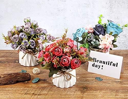 TopSZ Artificial Flowers In Ceramic Vase Sturdy Bottom Arrangement Wedding Home Party Table Centerpieces Decoration Silk Rose 0 0
