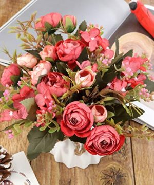 TopSZ Artificial Flowers In Ceramic Vase Sturdy Bottom Arrangement Wedding Home Party Table Centerpieces Decoration Silk Rose 0 1 300x360