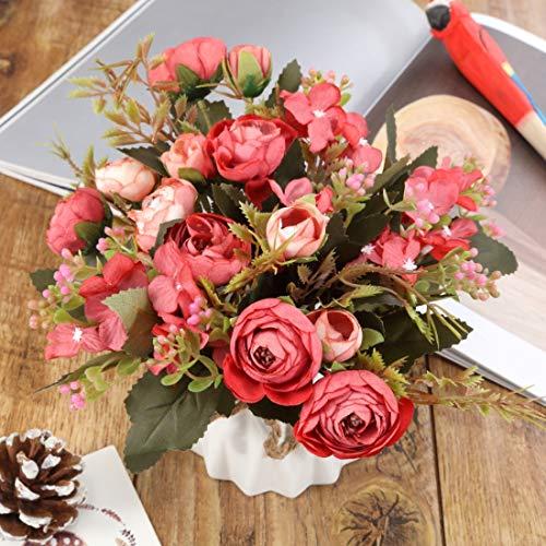 TopSZ Artificial Flowers In Ceramic Vase Sturdy Bottom Arrangement Wedding Home Party Table Centerpieces Decoration Silk Rose 0 1