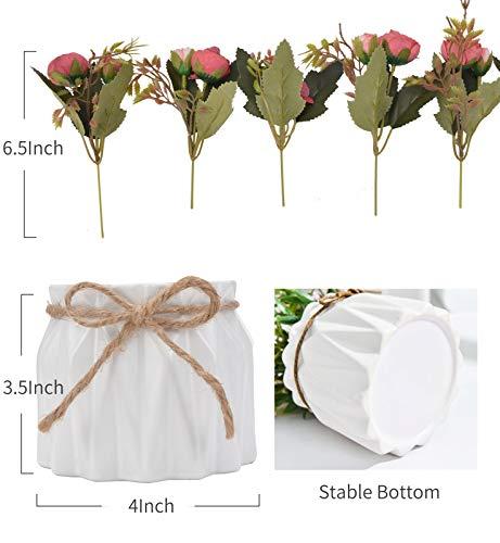 TopSZ Artificial Flowers In Ceramic Vase Sturdy Bottom Arrangement Wedding Home Party Table Centerpieces Decoration Silk Rose 0 2
