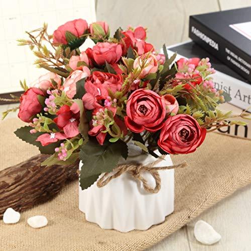 TopSZ Artificial Flowers In Ceramic Vase Sturdy Bottom Arrangement Wedding Home Party Table Centerpieces Decoration Silk Rose 0 3