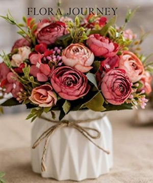 TopSZ Artificial Flowers In Ceramic Vase Sturdy Bottom Arrangement Wedding Home Party Table Centerpieces Decoration Silk Rose 0 300x360