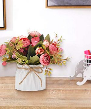 TopSZ Artificial Flowers In Ceramic Vase Sturdy Bottom Arrangement Wedding Home Party Table Centerpieces Decoration Silk Rose 0 4 300x360