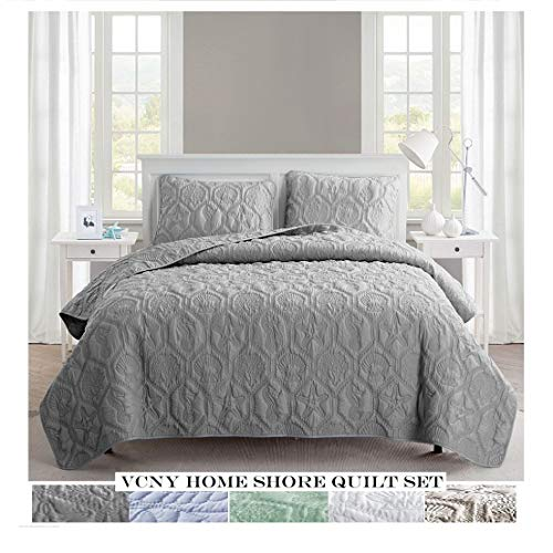 VCNY Home Shore Quilt Set King Grey 0