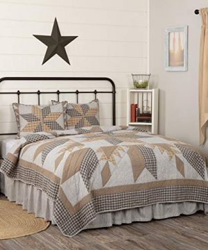 VHC Brands Bedding Dakota Farmhouse Blue Cotton Pre Washed Patchwork Star Sham California King Quilt Set Warm Grey 0 0 300x360