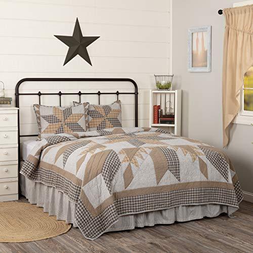 VHC Brands Bedding Dakota Farmhouse Blue Cotton Pre Washed Patchwork Star Sham California King Quilt Set Warm Grey 0 0