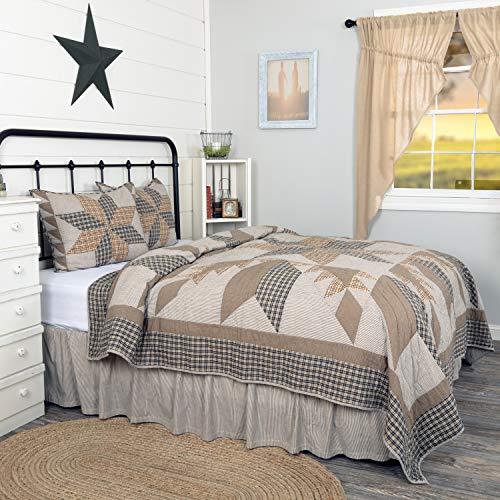 VHC Brands Bedding Dakota Farmhouse Blue Cotton Pre Washed Patchwork Star Sham California King Quilt Set Warm Grey 0 2