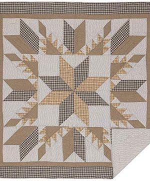 VHC Brands Bedding Dakota Farmhouse Blue Cotton Pre Washed Patchwork Star Sham Queen Quilt Set Warm Grey 0 0 300x360