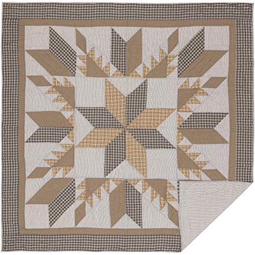 VHC Brands Bedding Dakota Farmhouse Blue Cotton Pre Washed Patchwork Star Sham Queen Quilt Set Warm Grey 0 0