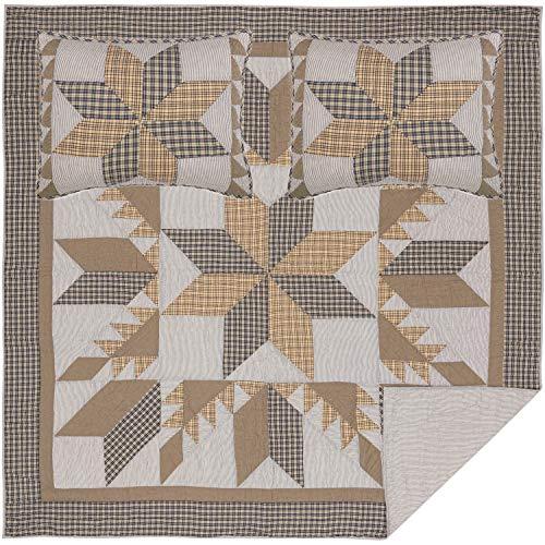 VHC Brands Bedding Dakota Farmhouse Blue Cotton Pre Washed Patchwork Star Sham Queen Quilt Set Warm Grey 0