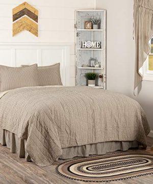 VHC Brands Farmhouse Bedding Sawyer Mill Ticking Cotton Pre Washed Striped Sham California King Quilt Set Dark Creme White 0 0 300x360