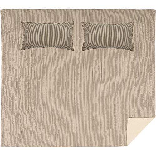 VHC Brands Farmhouse Bedding Sawyer Mill Ticking Cotton Pre Washed Striped Sham California King Quilt Set Dark Creme White 0