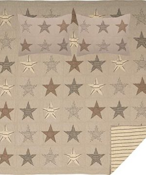 VHC Brands Farmhouse Independence Day Bedding Sawyer Mill Cotton Pre Washed Chambray Star Sham Queen Quilt Set Khaki Tan 0 300x360