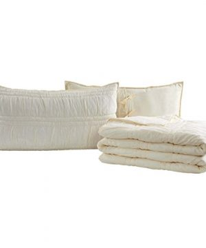 VHC Brands Natasha Solid Color Voile Cotton Farmhouse Bedding Pre Washed Ruched Ruffle Sham King Quilt Set Pearl White Vanilla Creme 0 300x360