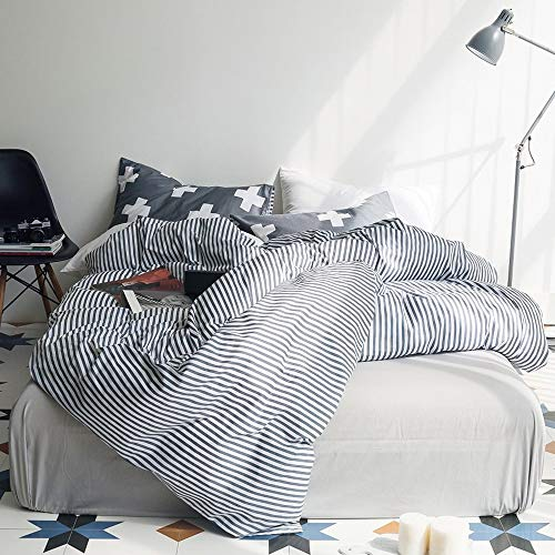 VM VOUGEMARKET 3 Piece Duvet Cover Set QueenStriped Duvet Cover With 2 Pillow Shams Hotel Quality 100 Cotton Luxurious Comfortable Breathable Soft And Extremely Durable QueenColette 0 0