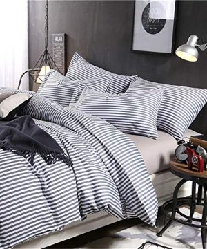 VM VOUGEMARKET 3 Piece Duvet Cover Set QueenStriped Duvet Cover With 2 Pillow Shams Hotel Quality 100 Cotton Luxurious Comfortable Breathable Soft And Extremely Durable QueenColette 0 1 300x360
