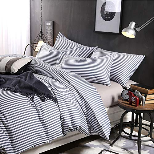 VM VOUGEMARKET 3 Piece Duvet Cover Set QueenStriped Duvet Cover With 2 Pillow Shams Hotel Quality 100 Cotton Luxurious Comfortable Breathable Soft And Extremely Durable QueenColette 0 1