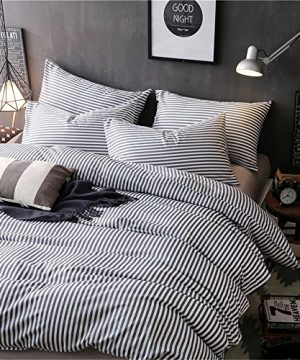VM VOUGEMARKET 3 Piece Duvet Cover Set QueenStriped Duvet Cover With 2 Pillow Shams Hotel Quality 100 Cotton Luxurious Comfortable Breathable Soft And Extremely Durable QueenColette 0 2 300x360