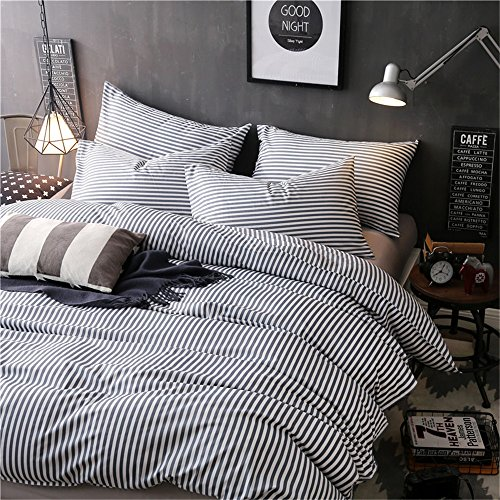 VM VOUGEMARKET 3 Piece Duvet Cover Set QueenStriped Duvet Cover With 2 Pillow Shams Hotel Quality 100 Cotton Luxurious Comfortable Breathable Soft And Extremely Durable QueenColette 0 2