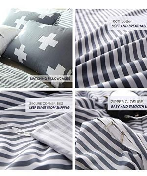 VM VOUGEMARKET 3 Piece Duvet Cover Set QueenStriped Duvet Cover With 2 Pillow Shams Hotel Quality 100 Cotton Luxurious Comfortable Breathable Soft And Extremely Durable QueenColette 0 3 300x360