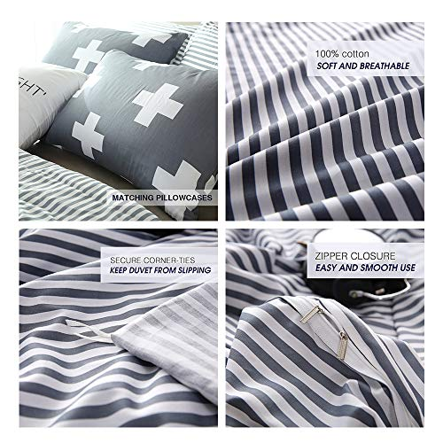 VM VOUGEMARKET 3 Piece Duvet Cover Set QueenStriped Duvet Cover With 2 Pillow Shams Hotel Quality 100 Cotton Luxurious Comfortable Breathable Soft And Extremely Durable QueenColette 0 3