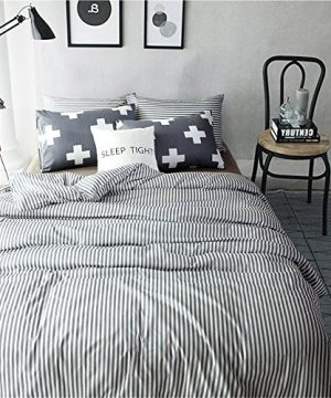 VM VOUGEMARKET 3 Piece Duvet Cover Set QueenStriped Duvet Cover With 2 Pillow Shams Hotel Quality 100 Cotton Luxurious Comfortable Breathable Soft And Extremely Durable QueenColette 0 300x360