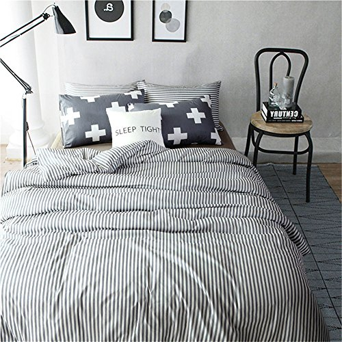 VM VOUGEMARKET 3 Piece Duvet Cover Set QueenStriped Duvet Cover With 2 Pillow Shams Hotel Quality 100 Cotton Luxurious Comfortable Breathable Soft And Extremely Durable QueenColette 0