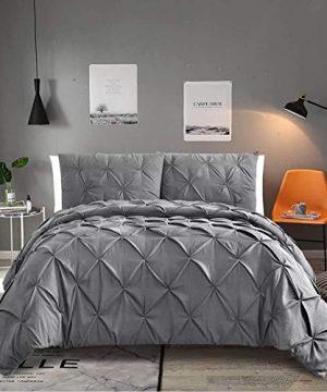 Vailge 3 Piece Luxurious Pinch Pleat Comforter SetAll Season Pintuck Comforter SetPlush Microfiber Fill Duvet InsertMachine Washable Comforter Bedding Hypoallergenic SoftQueenGrey 0 300x360