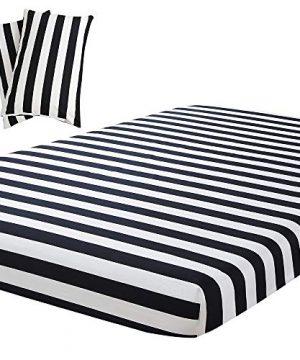Vaulia Lightweight Microfiber Sheets Stripe Pattern Design BlackWhite Full Size 1 Fitted Sheet 2 Pillowcases 0 300x360