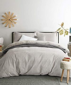 Villa Feel Duvet Cover Queen Egyptian Cotton Bedding Duvet Cover Set 3 Piece Ultra Soft And Easy Care Simple Vintage Style Percale Weave Farmhouse Bedding Soft And DurableQueen Grey 0 300x360