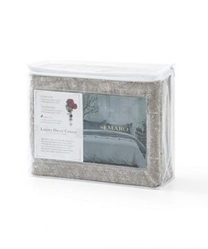 Villa Feel Duvet Cover Queen Egyptian Cotton Bedding Duvet Cover Set 3 Piece Ultra Soft And Easy Care Simple Vintage Style Percale Weave Farmhouse Bedding Soft And DurableQueen Grey 0 5 300x360