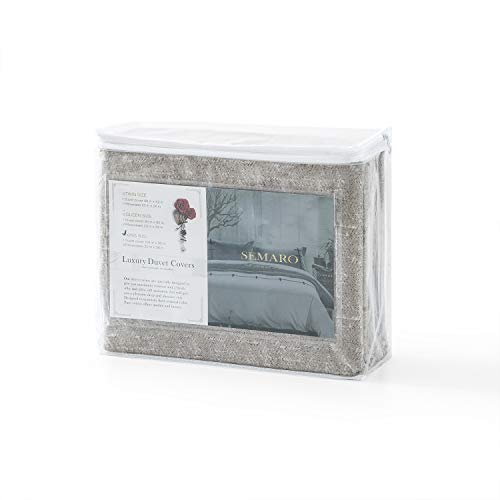 Villa Feel Duvet Cover Queen Egyptian Cotton Bedding Duvet Cover Set 3 Piece Ultra Soft And Easy Care Simple Vintage Style Percale Weave Farmhouse Bedding Soft And DurableQueen Grey 0 5